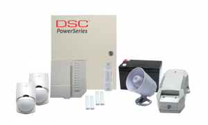 COMBO 1- DSC Power Series 8 wired zones  alarm kit components